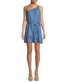 PAIGE Lauretta One-Shoulder Belted Chambray Mini D