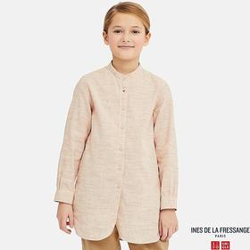 GIRLS LINEN COTTON LONG-SLEEVE TUNIC (INES DE LA F