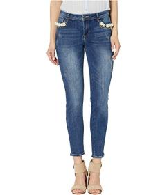 Bebe Spectra Pearls at Pocket Jeans in Indigo Luxe