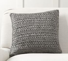 Pottery Barn Gray Paper Knit Pillow Cover