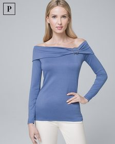 Petite Ring-Detail Off-the-Shoulder Top