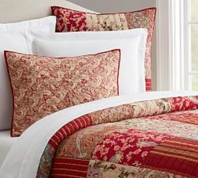 Pottery Barn Georgia Patchwork Quilt & Sham - Red