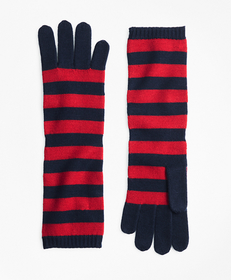 Brooks Brothers Striped Wool Elbow-Length Gloves