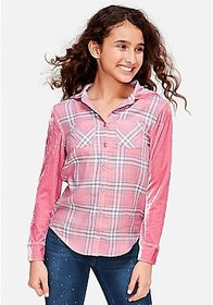 Justice Plaid Velvet Hooded Button Up Shirt
