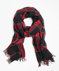 Brooks Brothers Red Windowpane Wool Scarf