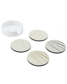 Mikasa Set of 4 White Celebration Coasters