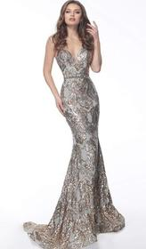Jovani - Beaded Plunging Sweetheart Long Gown 6734