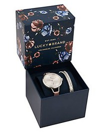 Lucky Brand Indio Leather Strap Watch Gift Set MED