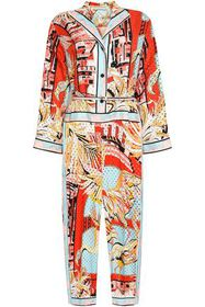 EMILIO PUCCI Belted perforated printed silk-twill
