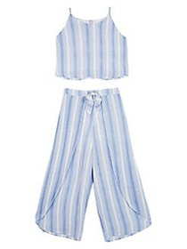 Ally B Girl's Striped Top and Wide Leg Pant 2-Piec