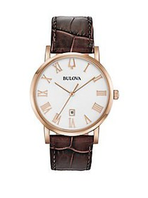 Bulova American Clipper Stainless Steel & Leather-