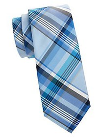 Tommy Hilfiger Plaid Silk Tie BLUE