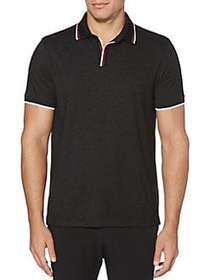 Perry Ellis Open Collar Short-Sleeve Polo ALLOY BL