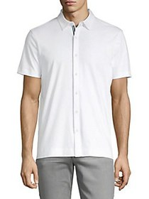 Perry Ellis Short-Sleeve Button-Front Shirt BRIGHT