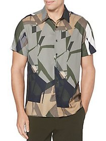 Perry Ellis Regular-Fit Graphic Button-Down Shirt