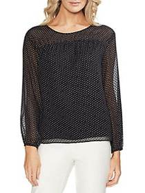 Vince Camuto Daybreak Polka Dot Blouse RICH BLACK