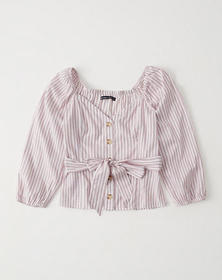 Tie-Front Blouse, RED STRIPE