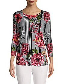 Joseph A Printed Tunic Sweater STRIPED FLORAL