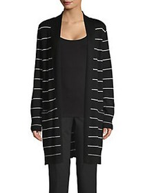 Joan Vass Striped Open Front Cardigan BLACK