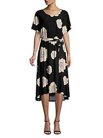 Joan Vass Floral High-Low Midi Dress BLACK
