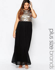 Club L Plus Size Maxi Dress With Sequin Top