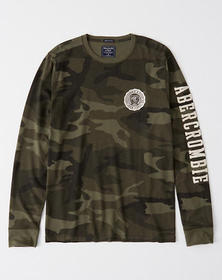 Long-Sleeve Applique Tee, OLIVE CAMO WITH WHITE LO