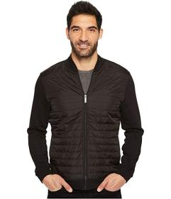 Perry Ellis Quilted Mix Media Full Zip Jacket