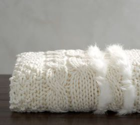 Pottery Barn Cableknit with Faux Fur Throw