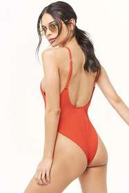 Forever21 Ribbed Button-Front One-Piece Swimsuit