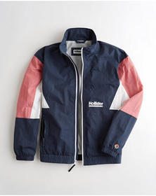 Hollister Colorblock Full-Zip Windbreaker, NAVY