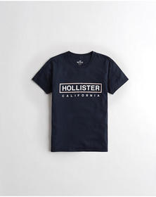 Hollister Logo Graphic Tee, NAVY