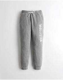 Hollister High-Rise Fleece Joggers, GREY