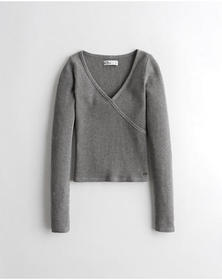 Hollister Wrap-Front Waffle Top, GREY