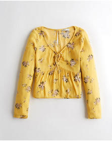 Hollister Tie-Front Babydoll Top, YELLOW FLORAL