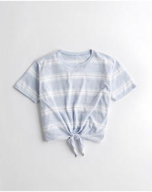 Hollister Tie-Front Easy T-Shirt, LIGHT BLUE STRIP
