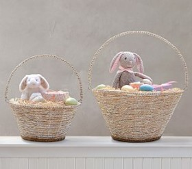 Pottery Barn Silver Rope Collapsible Handle Easter