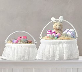 Pottery Barn White Ombre Pearl Easter Basket Liner