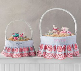 Pottery Barn Preppy Eyelet Easter Basket Liners