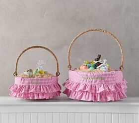 Pottery Barn Pink Gingham Ruffle Easter Basket Lin