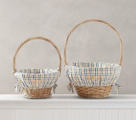 Pottery Barn Orange/Navy Plaid Print Easter Basket