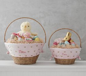 Pottery Barn Gold Metallic Print Easter Basket Lin