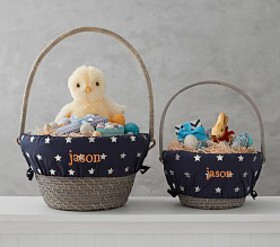 Pottery Barn Silver Metallic Print Easter Basket L