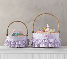 Pottery Barn Lavender Gingham Ruffle Easter Basket