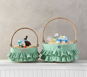 Pottery Barn Green Gingham Ruffle Easter Basket Li