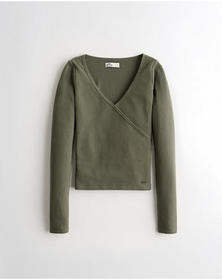 Hollister Wrap-Front Waffle Top, OLIVE
