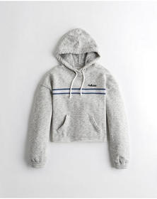 Hollister Cutoff Logo Hoodie, LIGHT GREY