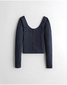 Hollister Button-Front Scoop Top, HEATHER NAVY