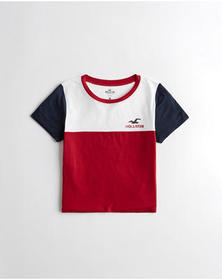 Hollister Crop Logo Graphic Tee, RED