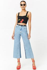 Forever21 Cherry Print Crop Top