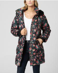 Juicy Couture Faded Floral Puffer Coat